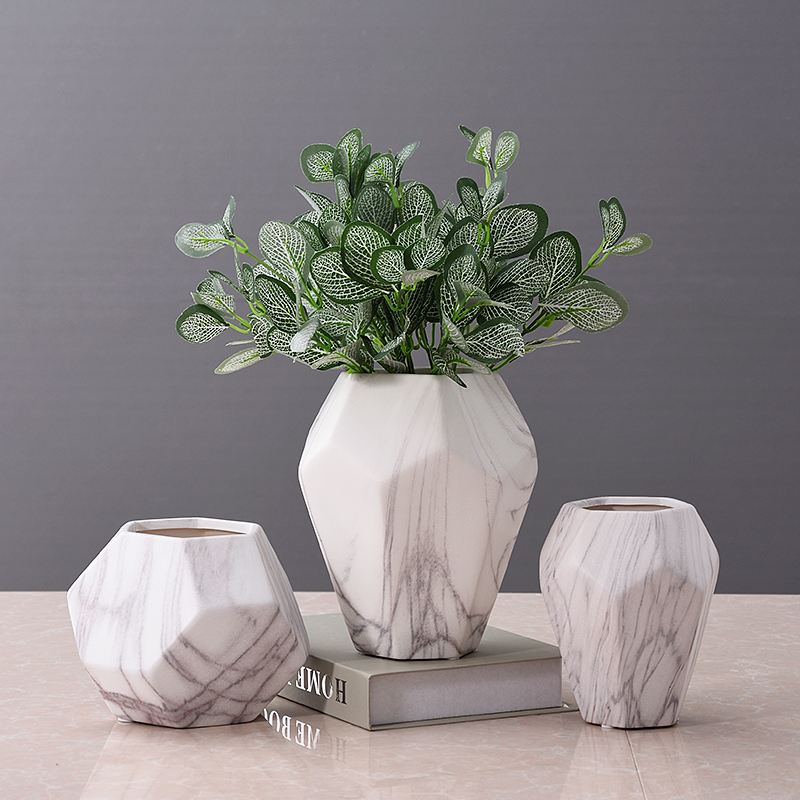 Modern Marble Styling Ceramic Art Vase Decorative Porcelain Diamond Flower Planter Pot Home and Office Craft Ornament Furnishing