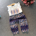 New Designer summer kids clothing girls t shirt + pants trousers clothing set 2pcs baby girl clothing suits girl top pants suits