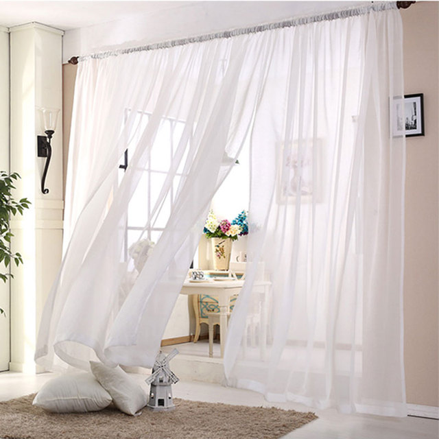 wedding ceiling drapes white sheer curtains window decoration voile curtain 1panel polyester kitchen tulle curtains s16502 - White Sheer Curtains