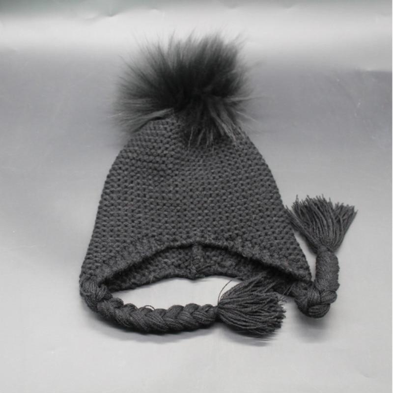 d285e756a US $7.59 5% OFF|Children Dyeing Raccoon Fur Pompom Ear flap Winter Hat  Cartoon Cute Mink Fur Pom Pom Warm Knitted Bonnet Outdoor Ski Cap Kids-in  ...