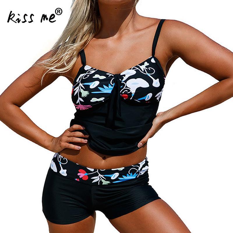 2 Pieces Bikini 2018 Plus Size Swimwear Female Black Floral Swimsuit Women With Shorts Tankini Set Bathing Suit Beach Wear 3xl