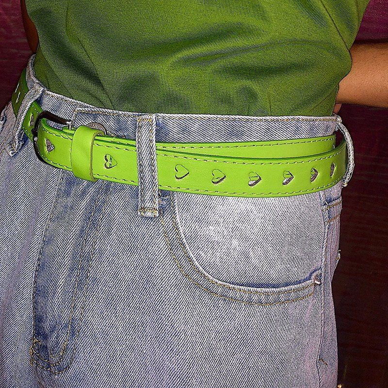 Vintage 90s Heart Love Hollow Out Women Pu Belt Oil Green Fashion Summer Belts Accessary