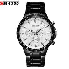 C URRENแฟชั่นเต็มเหล็กควอตซ์ผู้ชายนาฬิกาอะนาล็อกกีฬาชายนาฬิกาข้อมือคลาสสิกสีดำและสีขาวH Orloges Mannens S Aat R Eloj Hombre