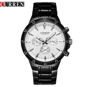 Image 1 - CURREN Fashion Full Steel Quartz Men Watch Analog Sports Male Wristwatch Classic Black&White Horloges Mannens Saat Reloj Hombre