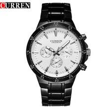 CURREN موضة كامل الصلب ساعة كوارتز رجالية التناظرية الرياضة الذكور ساعة اليد الكلاسيكية الأسود والأبيض Horloges Mannens سات Reloj Hombre