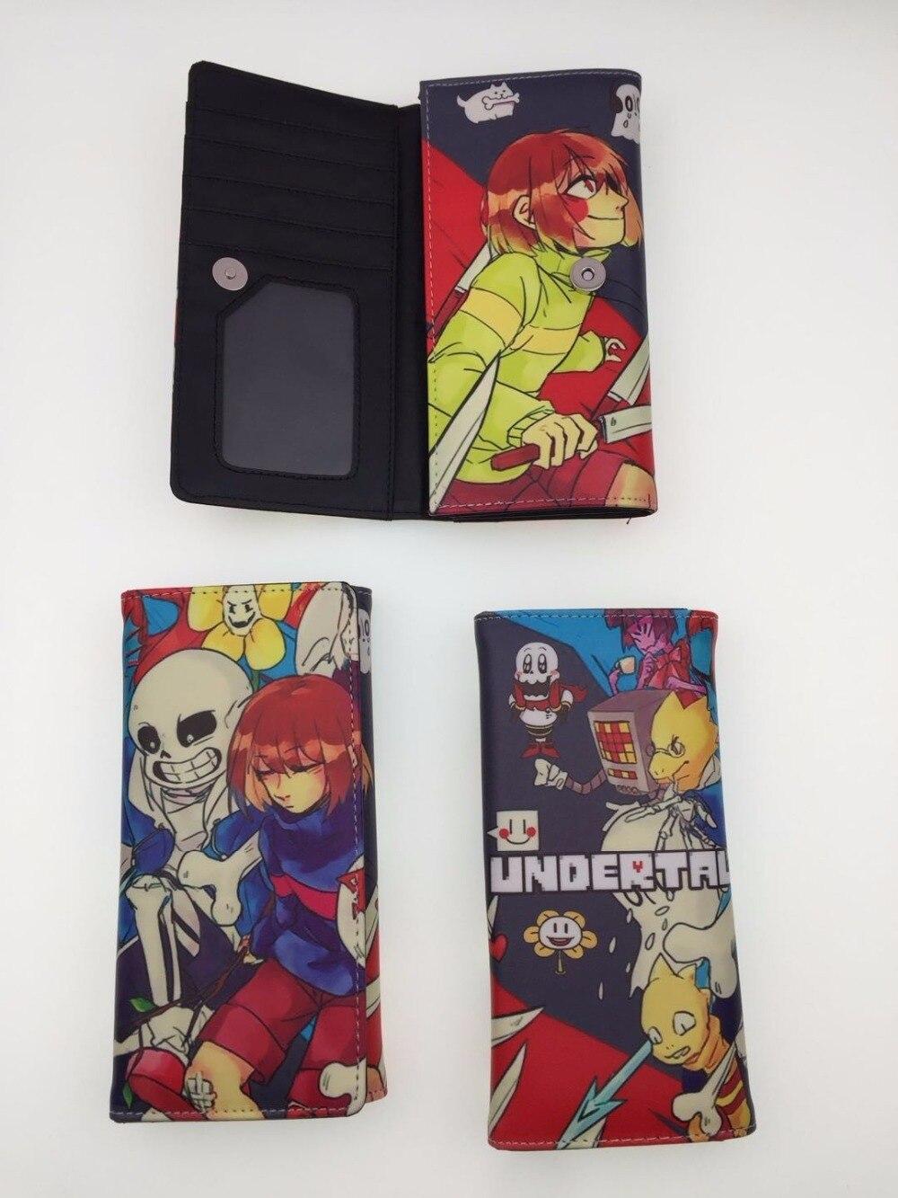 Anime Brieftasche Undertale Sans Lange Stil Papyrus Leder Pu Geldbörse mit Multi Kartenhalter Unisex Art Und Weisemappe