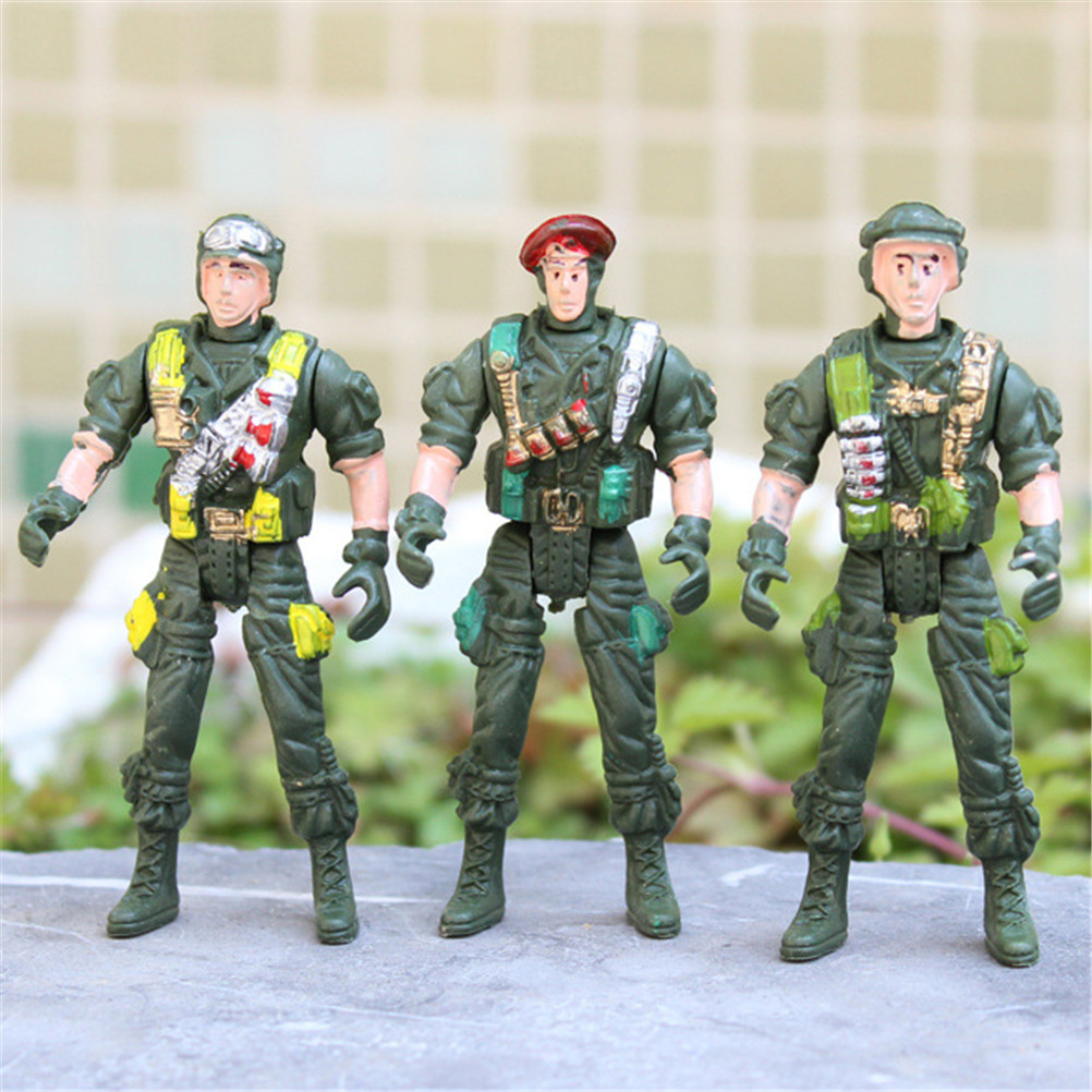 Action & Toy Figures Fashion Style 9cm Plastic Soldier Men Mobility Soldier Toys Military Sandbox Model Playset Special Force Action Figures Kids Toys Randomly