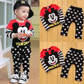 Cute Kids Baby Boys Girls Mickey Mouse Long Sleeves T-shirt Tops + Trousers Outfit Set Clothes 1-6Y
