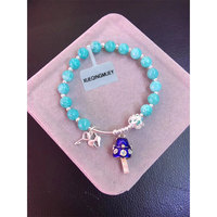 Fashion Women S 7 Mm Matte Amazonite Beads Bracelet Or A Fortune Cat Small Bell Charm