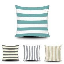 Модные полосы Чехлы для подушек настроить геометрический цвет: черный, синий белая наволочка дома диван Декор автомобиля мягкие подушк