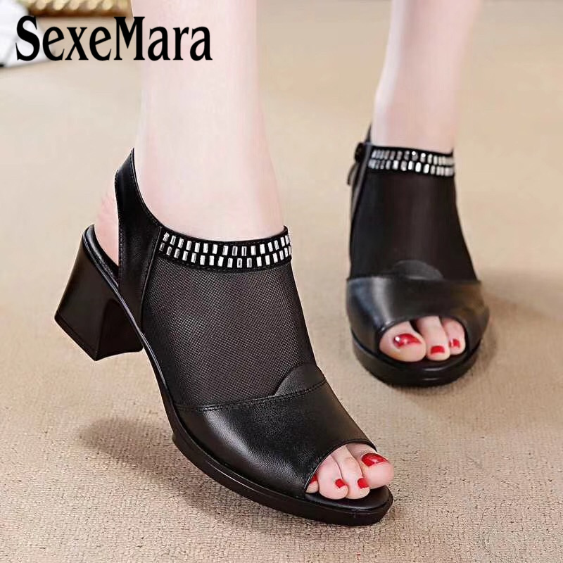 SexeMara Plus Size 35-41 Breathable Net yarn Genuine Leather Women sandals Rhinestone Peep Toe high-heeled sandals Ladies Shoes summer women leather high heeled shoes sandals rhinestone pump sandals ladies open toe slippers plus size 33 41
