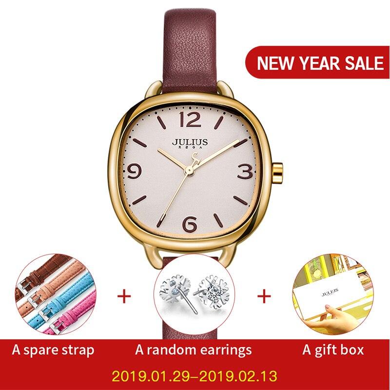JULIUS Αγάπη βραχιόλι ρολόγια γυναικών φόρεμα μόδας δέρμα Montres αδιάβροχη πλατεία κυρίες ρολόγια κορυφαία μάρκα πολυτέλεια wacht JA-928