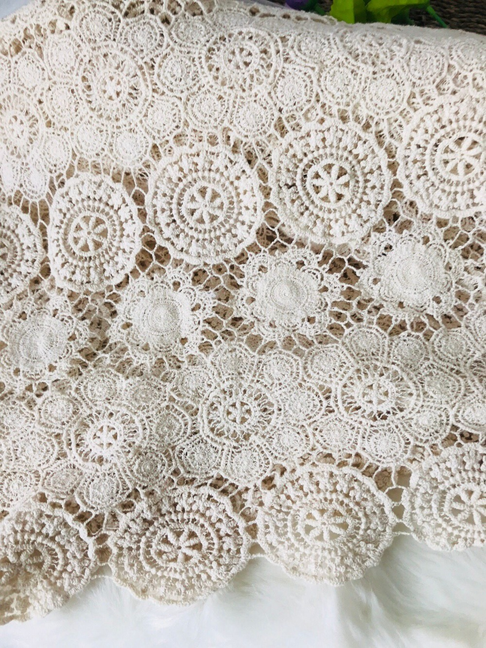 Beige Cotton Lace Fabric Embroidered Lace Fabric cotton fabric lace wedding table cloth