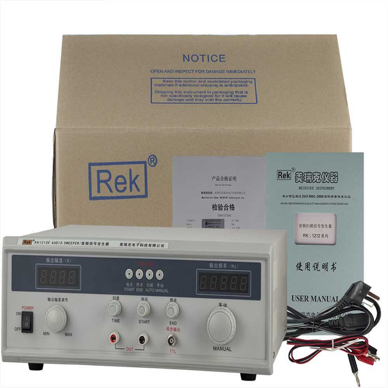 Rek 60W Audio frequency sweep signal generator Rk1212E Digital display frequency sweep meter 10hz 1mhz low frequency function signal audio generator producer rek rag101