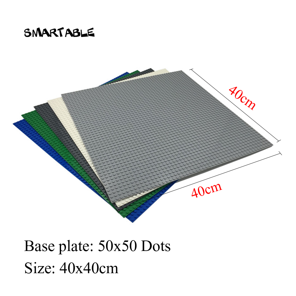 Smartable Base plate for Small Bricks Baseplates 50*50 Dots DIY Building Blocks Compatible legoing Toys christmas Gift 2pcs/lot 32 32 dots plastic bricks the island straight crossroad curve green meadow road plate building blocks parts bricks toys diy