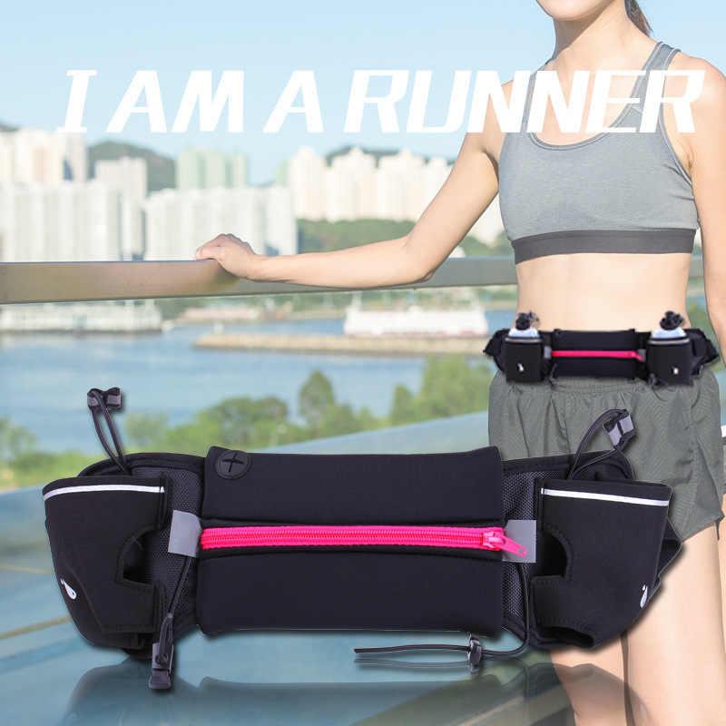 Riñoneras para correr al aire libre para hombre y mujer, riñonera para correr, bolsa de cinturón de hidratación, botella de agua para Fitness, gimnasio, billetera deportiva ligera