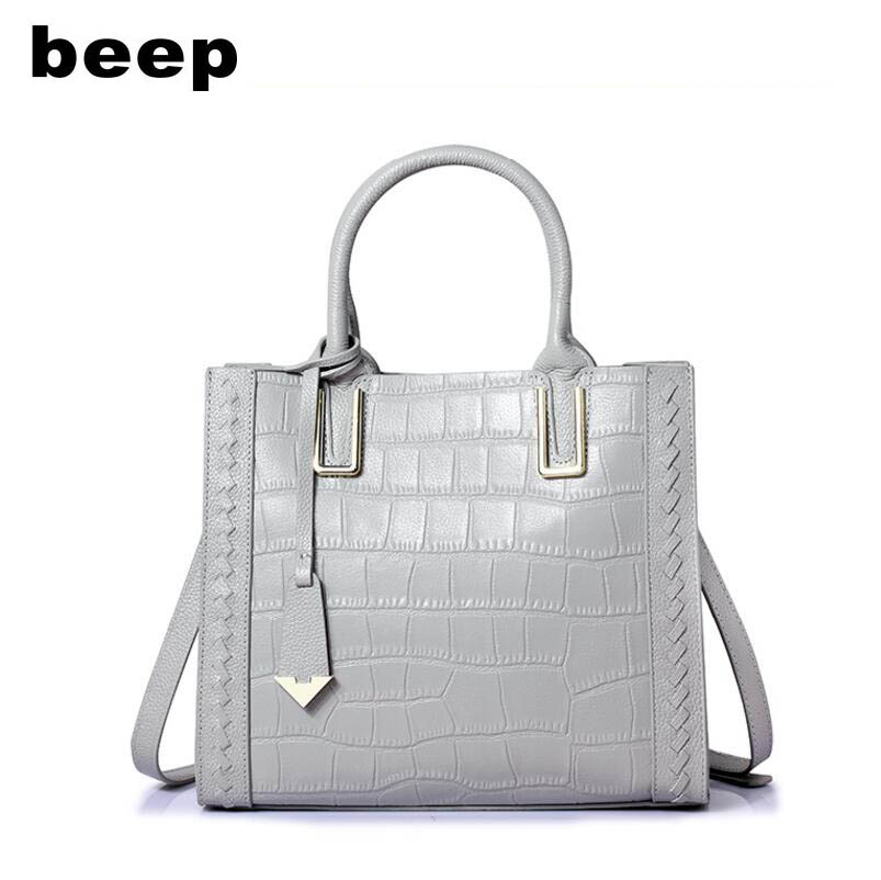 Beep Superior cowhide fashionCasual luxury Genuine Leather bag Crocodile pattern  tote women leather shoulder bag  women's bag beep beep go to sleep