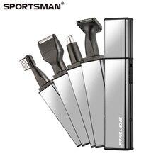 Спортсмен 4 в 1 Электрический триммер волос носа Перезаряжаемые нос триммер для Для мужчин тримеров бакенбарды резак волос Триммеры для стрижки бровей