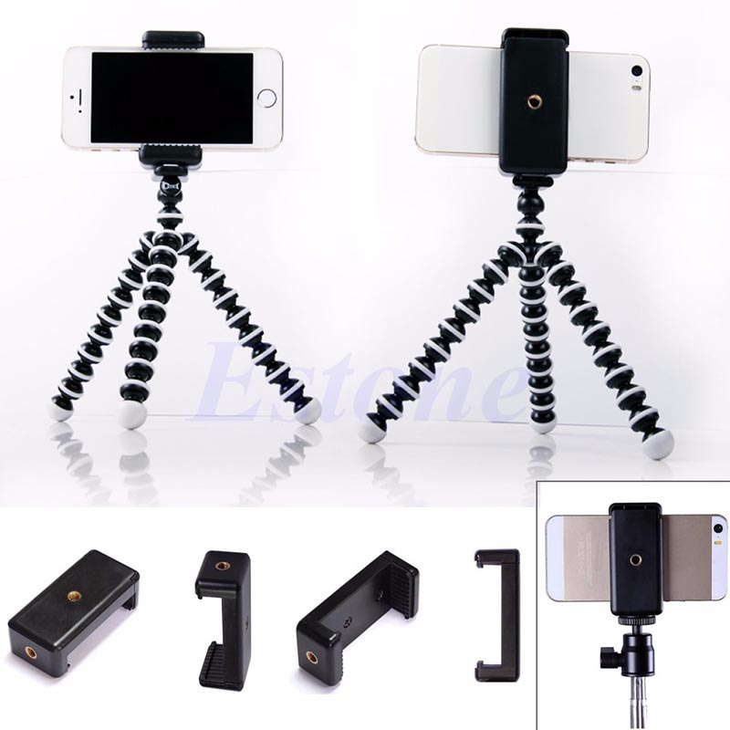 Mini Mobile Phone Camera Tripod Stand Clip Bset Selling Bracket Holder Mount Adapter for HTC iPhone Handlebar Clip kacytoolscp001 holder adapter clip krab grip mount stand tripod bracket for camera flash light clamp laser level measuring tools