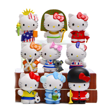 9PCS/LOT 5cm Cosplay hello kitty kwaii Action Figures kids toys gifts