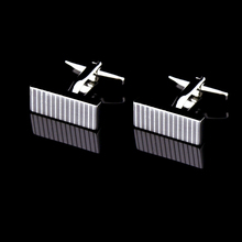Bridegroom Wedding Evening Party Business Men Cufflinks French Shirts Cuff Links Cuboid Striped Silvery Cufflink With Gift Bag