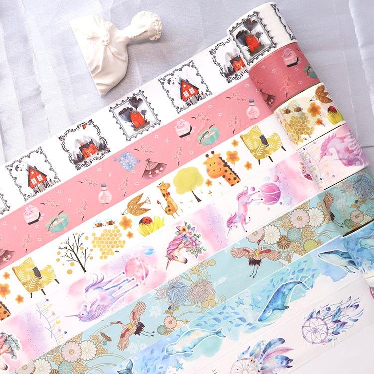 6pcs/pack Fantastic Forest Japanese Washi Tape Decorative Paper Masking Tape Diy Adhesive Scrapbooking Sticker