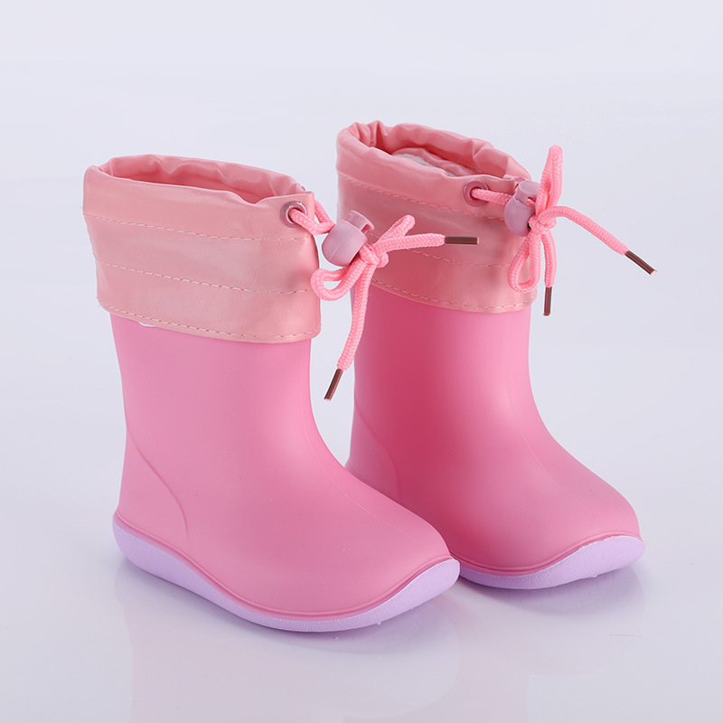 Rubber Boots Removable Water-Shoes Toddler Girls Boys Kids Non-Slip Warm Four-Seasons