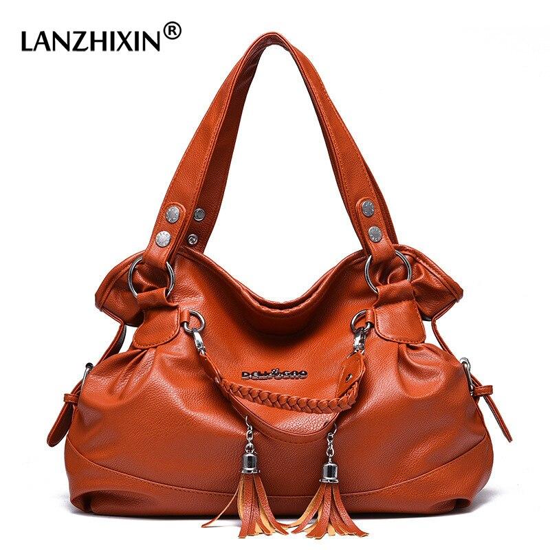 LANZHIXIN Casual Large Women Tote Bags Handbags Designer Weaving Tassel Top Handle Shoulder Bag For Women 2018 Ladies Hand Bags