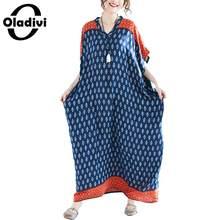 0faaa25fafb033 Oladivi Marque Surdimensionné Vêtements De Mode Impression tenue  décontractée grande taille Femmes robes lâches Dames Longue che.
