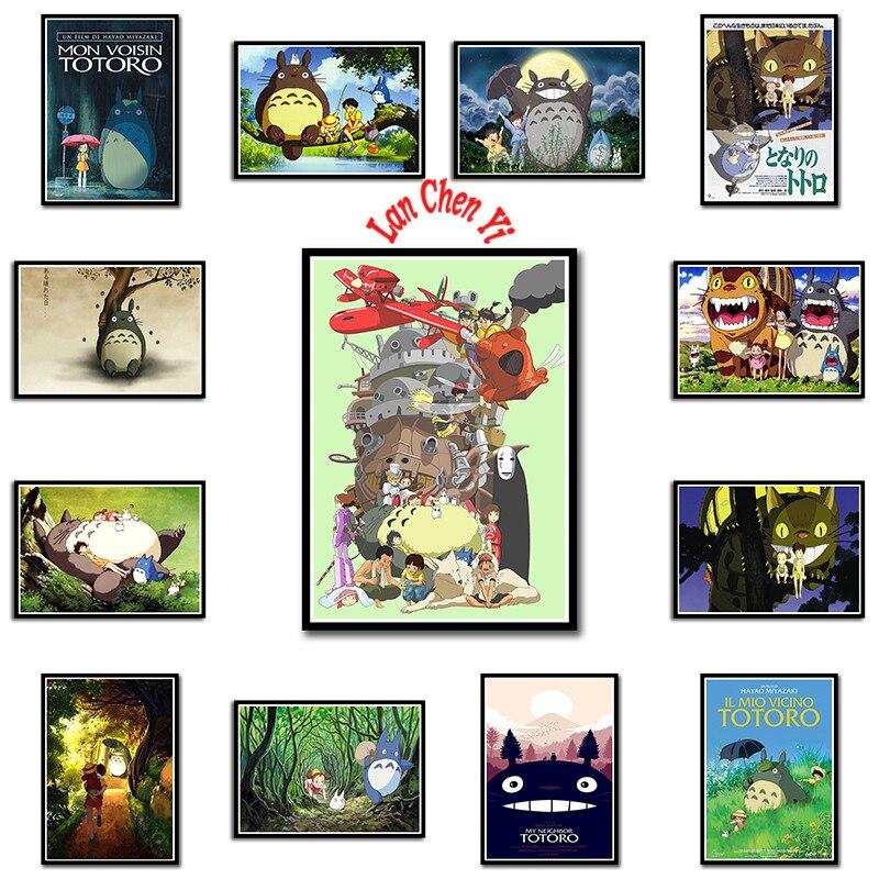 Tonari no Totoro Miyazaki Hayao Coated paper poster Office Gift Room Dining Home Decor wall sticker Design