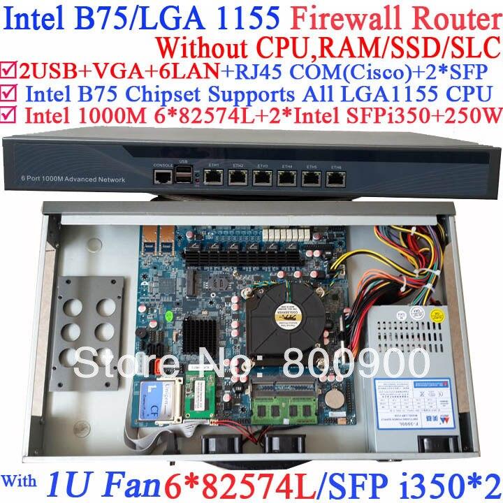 1 u сервер межсетевого экрана маршрутизатор barebone системы с шестью 1000 м 82574l Gigabit LAN два Intel i350 SFP волокна порты нет Процессор