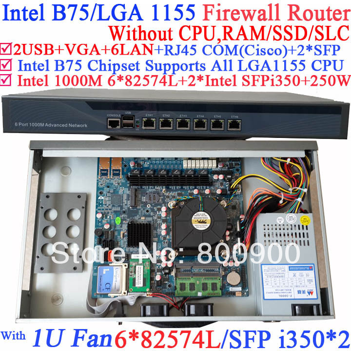 1 u server network firewall router barebone system with Six 1000M 82574L Gigabit Lan two intel i350 SFP fiber ports NO CPU