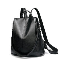 Soft Genuine Leather Backpacks For Women Shoulder Travel Bag Female Fashion Casual Black Backpack Teenage Girls Schoolbag C643(China)