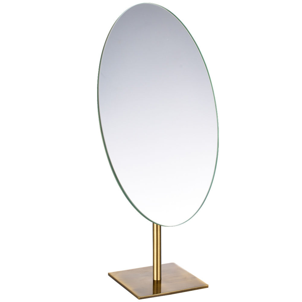 GURUN OVAL Antique Bronze Tabletop Makeup Mirror Sturdy Standing Frameless Single Sided Mirror on Dressing Table As Gift