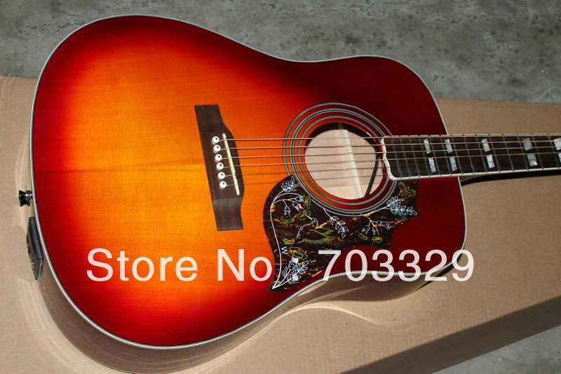 sj200 cherry sunburst Hummingbird Acoustic Guitar CS can be with fishman EQ free shipping spruce top solid mahogany back sides free shipping best price wholesale top quality solid spruce top 12 strings j200 sunburst color acoustic guitar 14815