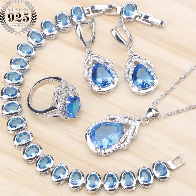 Blue Zircon Silver 925 Wedding Jewelry Sets  1