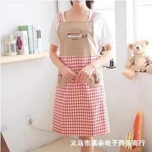Factory direct anti-oil stain Korean fashion three trees sleeveless strap style embroidery cotton aprons wholesale