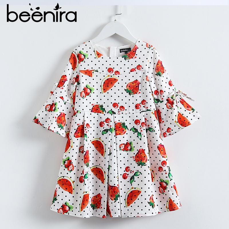 Beenira Girls Dresses European and American Autumn Kids Dress Fruits Pattern Dots Design Girls 4-14Y Children Clothes Dress casual women s satchel with color block and dots pattern design