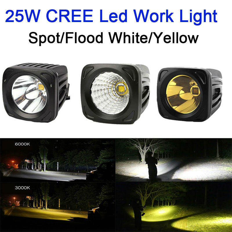 25W Square LED Work Light 12V 24V Spot Flood Lamp Yellow 3000k White For 4x4 Offroad ATV Truck Driving Fog Lights External Light super slim mini white yellow with cree led light bar offroad spot flood combo beam led work light driving lamp for truck suv atv