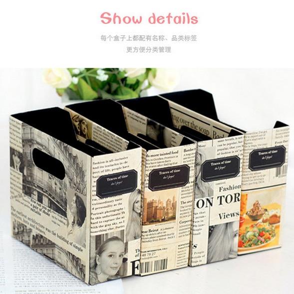 Newspapers Handmade DIY Storage Box Retro Paper Desktop Finishing Assembly  File Data Rack Shelf Desktop Storage