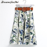Dreamjieshi Women Cute Midi Skirt Floral Print Vintage 2017 Summer High Waist Ball Gown Elegant Tutu