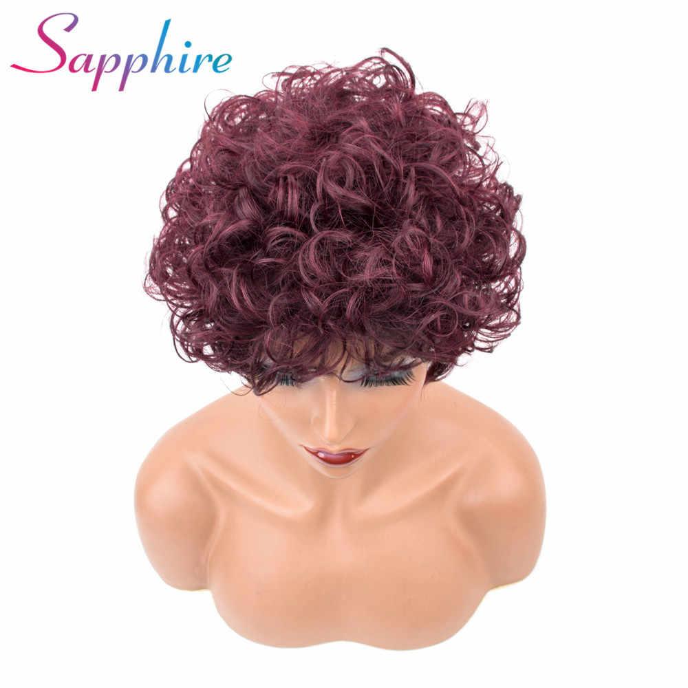 Сапфир Малайзия Вьющиеся волосы короткие человеческие волосы красные парики для черных женщин парики Remy Цвет 99J вьющиеся парик Бесплатная доставка