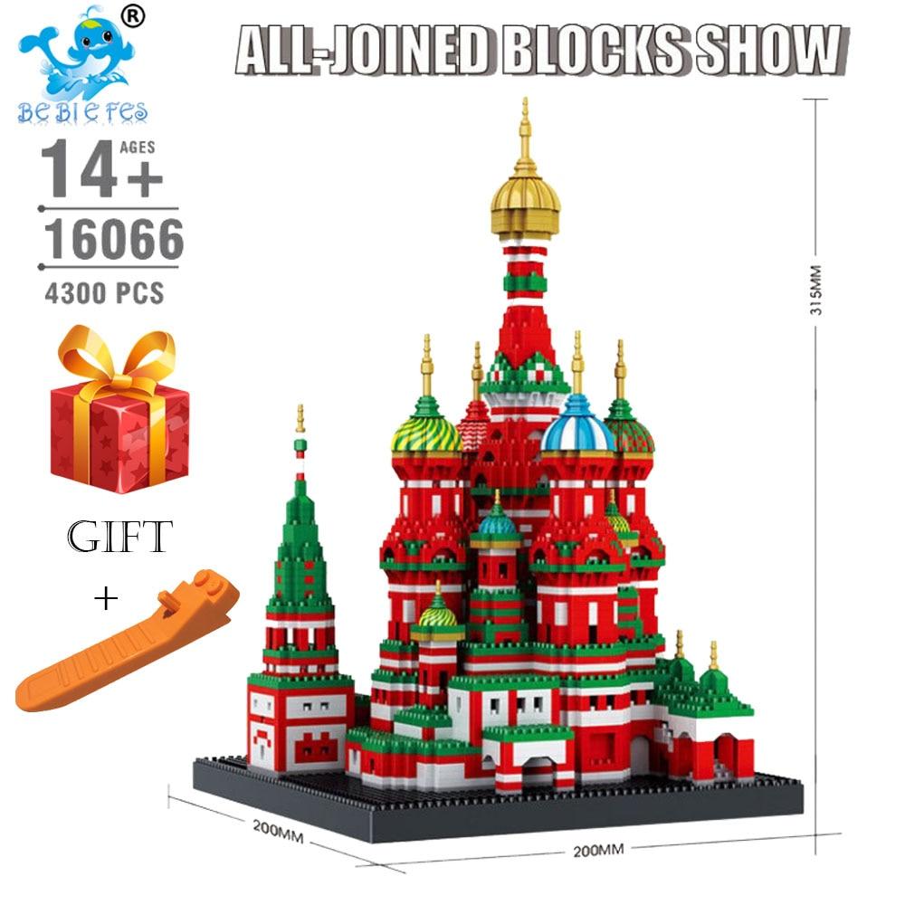 4300 pièces Mini blocs de diamant Architecture modèle de construction jouet cathédrale Saint basilic pour enfants Compatible ville de legoingey 16066