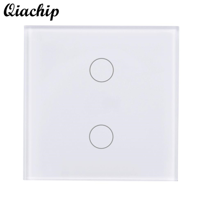 QIACHIP AC 110-240V EU Plug 2 Gang 1 Way WIFI Remote Control Light Touch Sensor Switch Panel Smart Home Work With Amazon Alexa k1rf ltech one way touch switch panel ac200 240v input can work with vk remote page 2