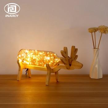 Nordic Stil Massivholz Schlafzimmer Nacht LED Tisch Lampe Glas Nacht Lichter Feuer Baum Silber Blume Deer Dekorieren Schreibtisch Lampe