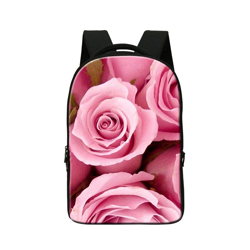 Flower 3D Print Laptop Computer Bag for girls floral back pack for college schoolbag for high