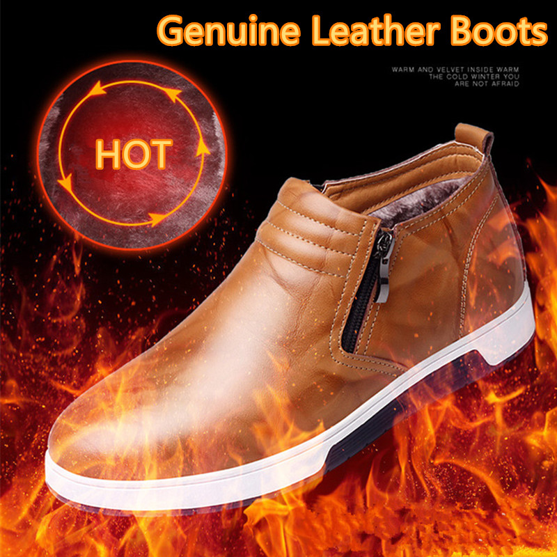 NEW Genuine Leather Men Casual Boots, Handmade Super Warm Men Winter Shoes,High Quality Ankle Boots For Autumn And Winter Shoes mulinsen new 2017 autumn winter men