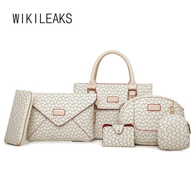 590c4485d WIKILEAKS 6 Peças Conjunto Bolsa Bolsas De Luxo Mulheres Sacos de Designer  de Marca Famosa saco