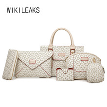 WIKILEAKS 6Pieces Handbag Set Luxury Handbags Women Bags Designer Famous Brand Messenger Clutch Bag Wallets Shoulder