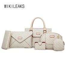 WIKILEAKS 6 Piezas Conjunto Bolso de Lujo Mujeres de Los Bolsos Diseñador Famoso de la Marca Bolsa de Mensajero Del Embrague Billeteras + + bolsas de Hombro + bolsos